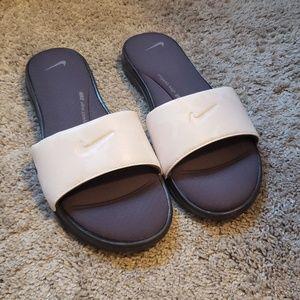 White Patterned Nike Slides
